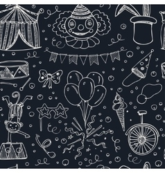 Hand drawn sketch circus seamless pattern vector image