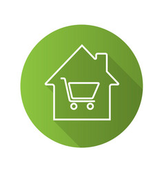 household goods store flat linear long shadow icon vector image
