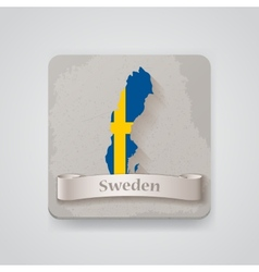 Icon of Sweden map with flag vector
