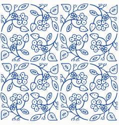 indigo blue and white seamless floral pattern vector image