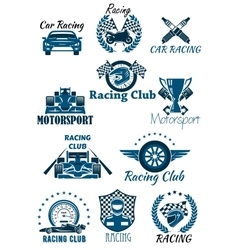 Isolated icons for racing and motorsports vector image