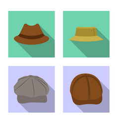 isolated object headgear and cap logo set of vector image
