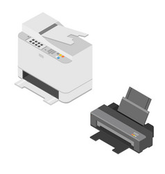 isometric printer and scanner vector image