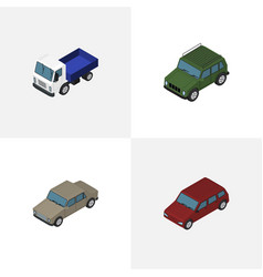 isometric transport set of armored auto lorry vector image