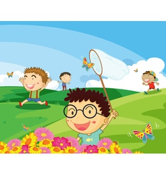 kids in park vector image