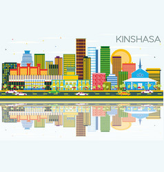 Kinshasa skyline with color buildings blue sky vector
