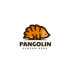 Logo pangolin simple mascot style vector