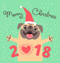 Merry christmas 2018 card with dog funny pug vector
