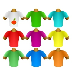Multicolored T-shirts in a set vector