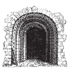 Norman doorway norman roman architecture vintage vector