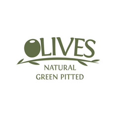 Olives branch with leaves emblem template vector
