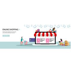 Online shopping or online store concept landing vector