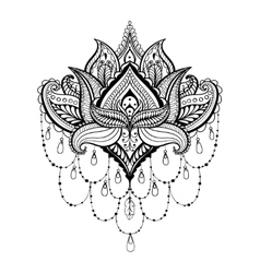 Ornamental Lotus ethnic zentangled henna vector