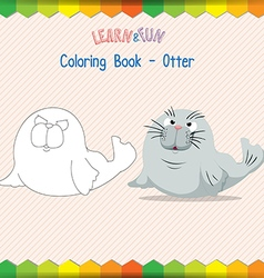 Otter coloring book educational game vector