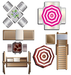 Outdoor furniture top view set 18 for landscape vector image