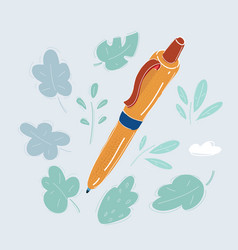 pen on white background vector image