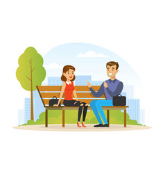 people relaxing in nature in urban park young vector image