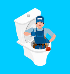 plumber and toilet cleaning and maintenance of vector image