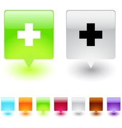 Plus square button vector image