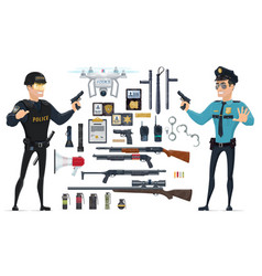 Police elements collection vector