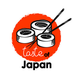 Rolls with chopsticks japanese food vector