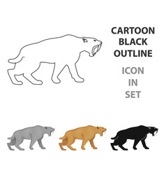 Saber-toothed tiger icon in cartoon style isolated vector