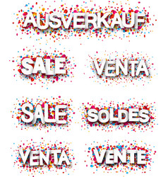 Sale banners with colorful confetti vector