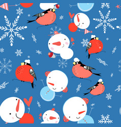 seamless bright winter pattern of bullfinches and vector image