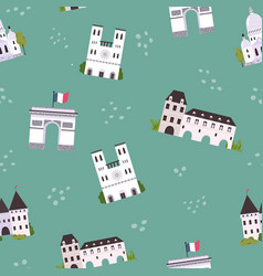 seamless pattern with famous landmarks and vector image