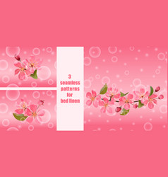 seamless patterns with pink blossoming cherry vector image