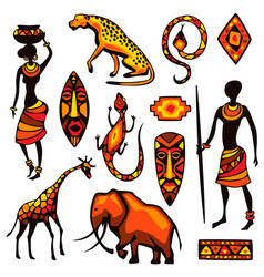 Set african ethnic items people animals vector