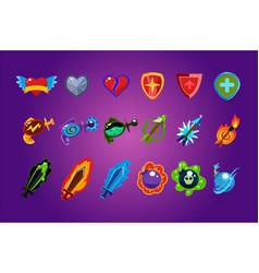 set mobile game assets hearts defense vector image