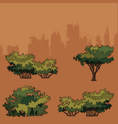 Set of green trees and bushes for the park vector