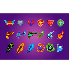 set of mobile game assets hearts defense vector image