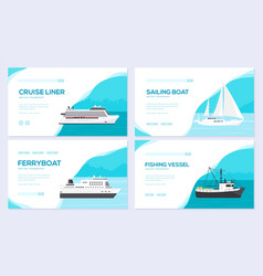 Set of yacht boat cargo ship steamship ferry vector
