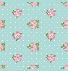 Shabchic rose seamless pattern on polka dot vector