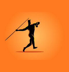 silhouette of a javelin throw athlete vector image