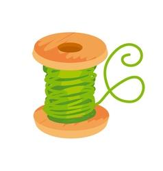 Simple flat green thread and bobbin vector
