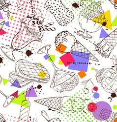 Sketch seamless pattern of ice cream vector