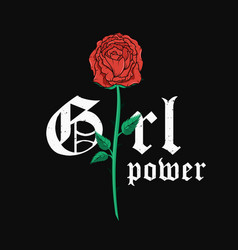 Slogan t-shirt graphic design with red rose vector