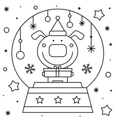 Snow globe with a dog coloring page black and vector