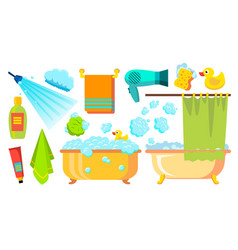 Take a shower bath icons accessories vector