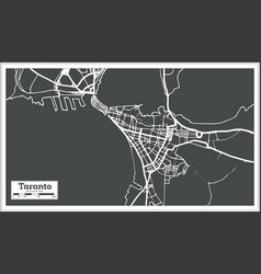 taranto italy city map in retro style outline map vector image