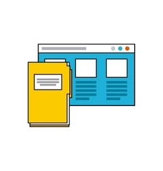 Template web page with social media icon vector
