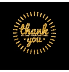Thank you golden lettering design with glitter vector