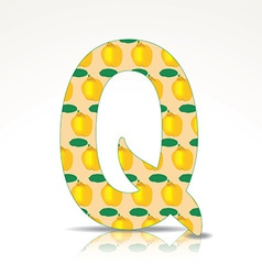 The letter Q of the alphabet made of Quince vector