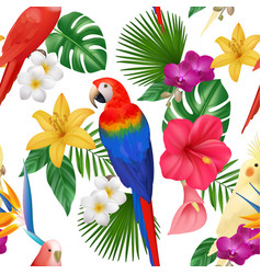 tropical pattern exotic flowers and birds colored vector image