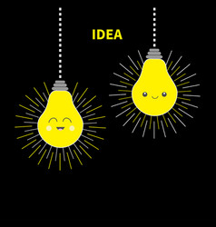 two hanging idea light bulb icon set happy smiling vector image