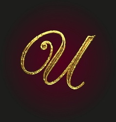 U golden letter vector