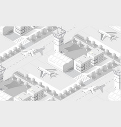 urban isometric area with airport runway airplane vector image
